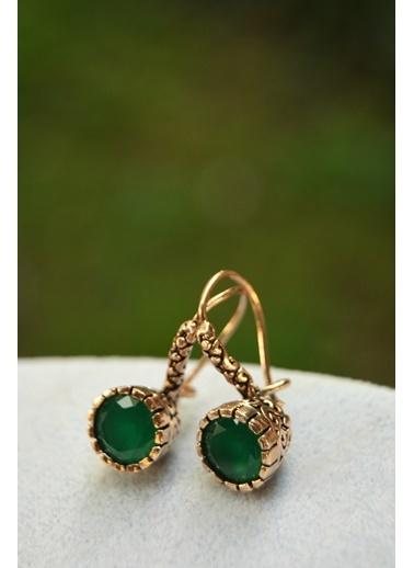 Stoneage Zümrüt Doğal Taş Yeşil Bayan Küpe Yeşil